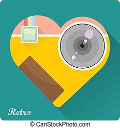 appartamento, macchina fotografica, illustrazione, vettore, foto, icona