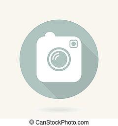 appartamento, macchina fotografica, lungo, vettore, uggia, icona