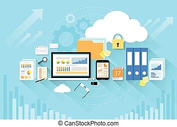 appartamento, magazzino, computer, disegno, congegno, sicurezza, dati, nuvola