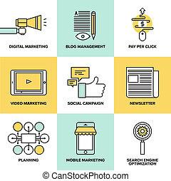 appartamento, marketing, digitale, pubblicità, icone