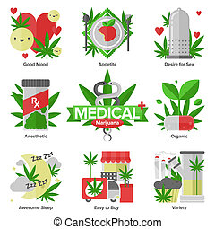 appartamento, medico, set, marijuana, icone