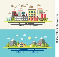 appartamento, moderno, illustrazione, ecologico, disegno, concettuale