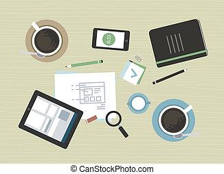 appartamento, moderno, riunione, affari illustrazione
