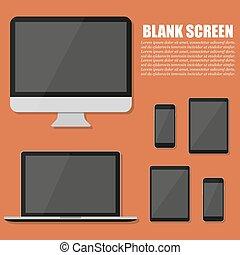 appartamento, monitor, moderno, tavoletta, laptop, smartphone, congegno, tecnologia, design.
