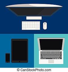 appartamento, monitor, tavoletta, computer portatile, pc., smartphone, design.