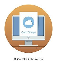 appartamento, monitor, web, mobile, magazzino, screen., illustrazione, luogo, domanda, vettore, interface., o, nuvola, icona
