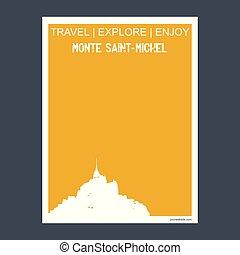 appartamento, monte, michel, stile, tipografia, punto di riferimento, saint-, vettore, monumento, opuscolo, francia