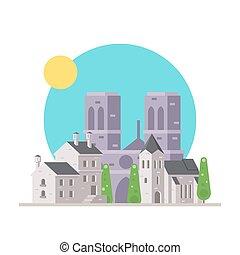 appartamento, notre, francia, disegno, villaggio, dama