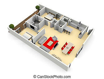 appartamento, o, casa vista, uccelli, cgi, floorplan, occhio, moderno, 3d