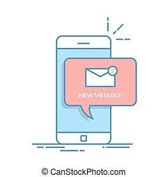 appartamento, o, telefono, mobile, notificazione, linea, isolato, illustrazione, email, fondo., vettore, discorso, magro, nuovo, bubbles., posta, bianco, tuo, smartphone., icona