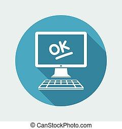 appartamento, ok, -, domanda, vettore, risultato, approvato, icona