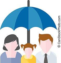 appartamento, -, ombrello, famiglia, icona