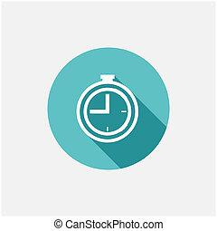 appartamento, orologio, icona