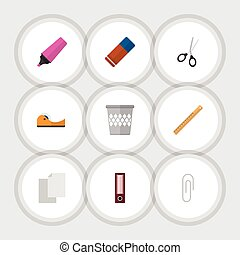 appartamento, pagina, set, elements., apparecchiatura, straightedge, include, anche, chiusura, vettore, forbici, pennarello, objects., vuoto, altro, icona