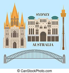 appartamento, paul, regina, melbourne, porto, st, architettura, sydney, landmark., costruzione, cattedrale, torre, victoria, australia., ponte, sightseeing