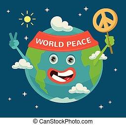 appartamento, peace., character., illustrazione, pianeta, vettore, terra, mondo, day., cartone animato, felice