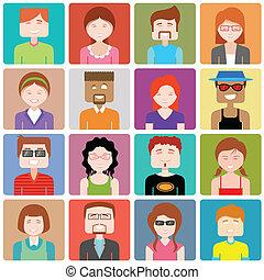 appartamento, persone, disegno, icona