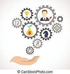 appartamento, pianificazione, strategia, affari, icona