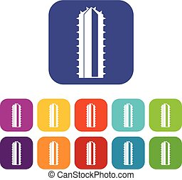 appartamento, pianta, cactus, set, icone