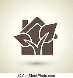 appartamento, pianta, ecologia, casa, elementi, icona