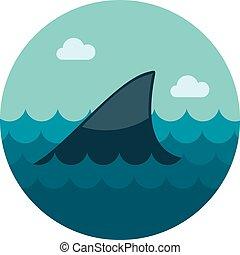 appartamento, pinna squalo, icona