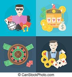 appartamento, poker, casinò, o, illustrazione