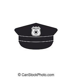appartamento, polizia, icona, isolated., segno., berretto, illustrazione, vettore, coccarda, cappello, design.