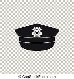 appartamento, polizia, icona, segno., berretto, isolato, illustrazione, fondo., vettore, coccarda, cappello, trasparente, design.