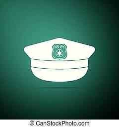 appartamento, polizia, icona, segno., berretto, isolato, illustrazione, fondo., vettore, verde, coccarda, cappello, design.