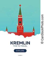 appartamento, poster., illustration., kremlin., viaggiare, travel., moscow., vettore, tempo, russia.