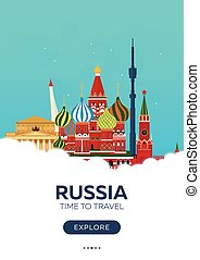 appartamento, poster., illustration., viaggiare, moscow., travel., vettore, tempo, russia.