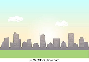 appartamento, primo piano., prato, colorito, orizzonte, vettore, verde, horizontal., cityscape, linea, illustration.