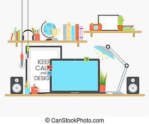 appartamento, progettista, lavorativo, legno, sopra, lavoro, creativo, posto, squadra, disegno, tavola.