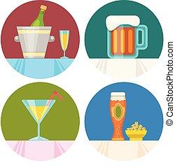 appartamento, progetto serie, bevanda, icone
