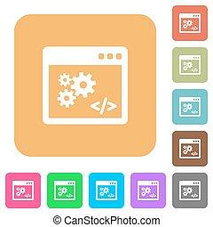 appartamento, quadrato, arrotondato, icone, programmazione, domanda, interfaccia