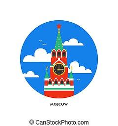 appartamento, quadrato, punto di riferimento, spasskaya, cremlino, mosca, russia., mosca, icona, forma, torre, nazionale, russo, icon., style., rotondo, rosso