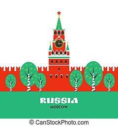 appartamento, quadrato, spasskaya, kremlin., mosca, russia., mosca, russo, pietra miliara nazionale, torre, style., cremlino, rosso