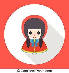 appartamento, ragazza, cartone animato, icona
