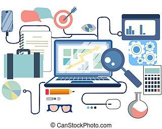 appartamento, rete finanziaria, affari, infographics, analisi, ricerca, vettore, fondo, linea, elementi, bianco, disegno, sociale