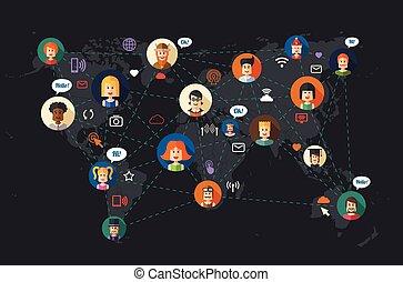 appartamento, rete, persone, moderno, communi, illustrazione, disegno, sociale