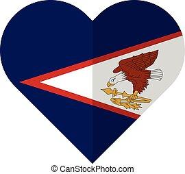 appartamento, samoa americana, bandiera, cuore