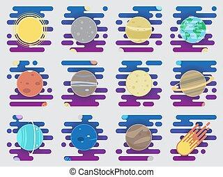 appartamento, satellite, solare, icone, -, sistema, illustrazione, pianeti, pianeti, cometa