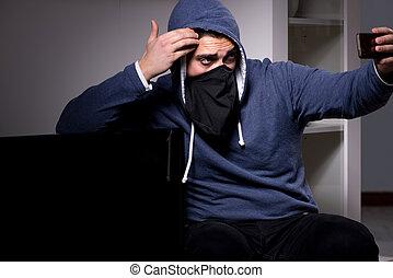 appartamento, scassinatore, tv, casa, ladro, rubare