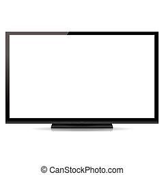 appartamento, schermo tv, moderno, isolato, fondo, vuoto, bianco