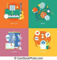 appartamento, scuola, icone concetto, education., progetto serie