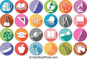 appartamento, scuola, icone