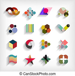appartamento, set, affari, astratto, geometrico, icona, 3d
