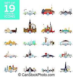 appartamento, set, attractions., grande, viaggiare, icons., vettore, aeroplano, world., style.