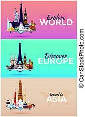 appartamento, set, attractions., viaggiare, banners., vettore, aeroplano, world., style.