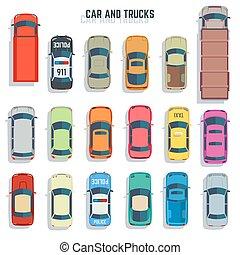 appartamento, set, camion, icone, automobili, cima, vettore, vista